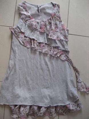 Tunika, Shirt, Kleid, Top Grau geblümt,Gr. M, Neu ohne Etikett!!