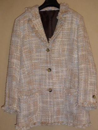Damen Blazer Gr. 44 Franzen Pastell gewebt Wolle 82cm länge –1-747