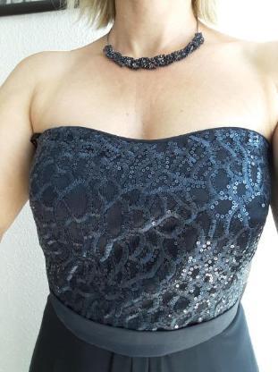 VM Vera Mont Kleid Blau mit Pailettenbesatz