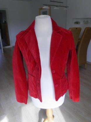 B.Young Damen Blazer Gr. M Jacke rot Streifen schwarz 5,-