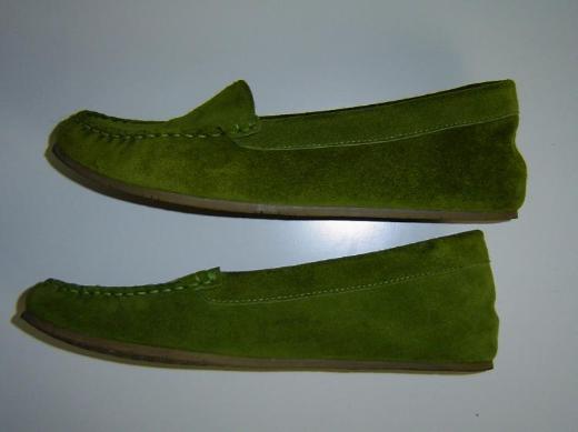 PETRA DIELER Damen Mokassin Gr. 39 grün echt Leder flach bequem – 575