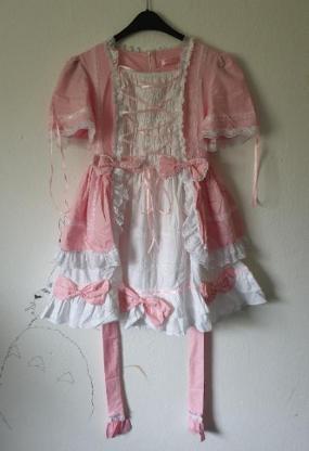 Pink/Weißes Lolita Kleid Größe M/L mit Schnürungsoptik