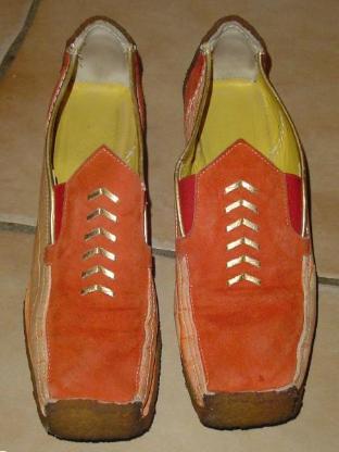 Damenschuhe Gr. 39 orange echt Leder loafers VINTAGE – 568