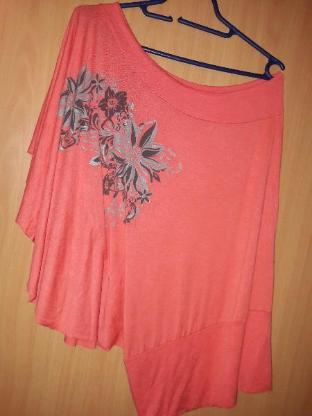 One Shoulder Shirt Blume GR M Shirt Longshirt Damen Oberteil