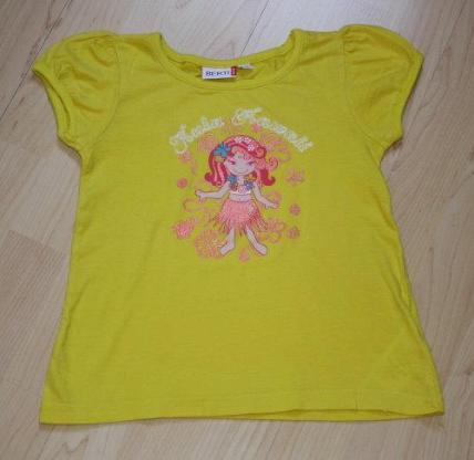 Mädchen Kurzarm T-Shirt Kinder Glitzer Sommershirt Kurzarmshirt Baumwolle Rundhals gelb Gr. 110