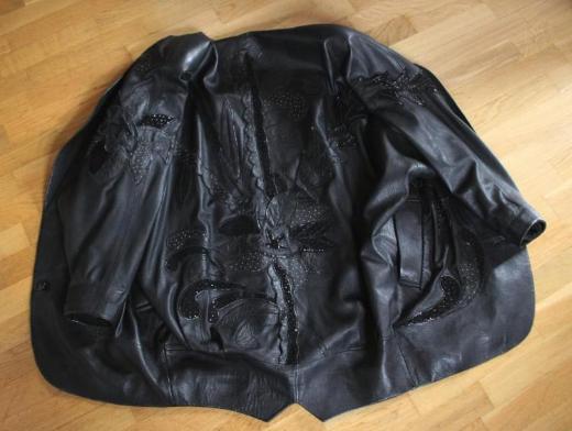 Damen - Lederjacke mit Applikationen (schwarz)