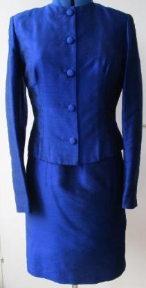 Damen Seidenkleid und Jacke, Gr. 38, blau