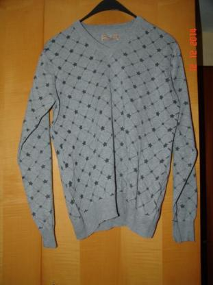 Solid Jeans - Grauer Pullover m. V - Kragen Gr. XL