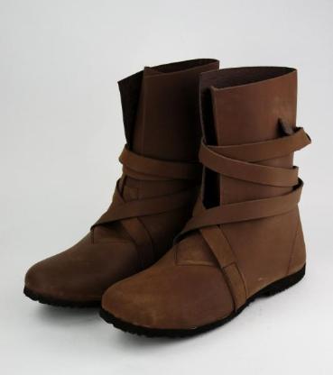 Haithabu-Stiefel aus Nubukleder mit Gummisohle in Braun Größ 46