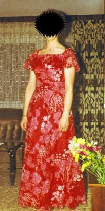 Abendkleid, lang, rot, mit Blumenmuster Gr. 40