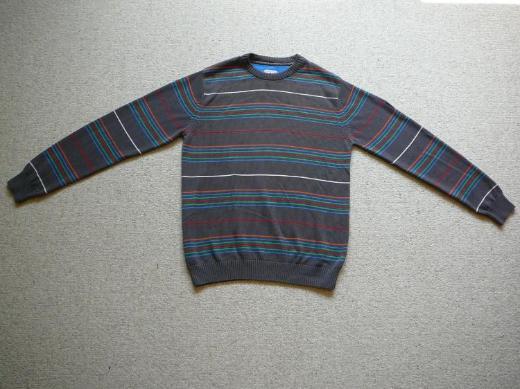 Verkaufe Pullover Ragman grau mit bunten Streifen Größe L neuwertig 100% Baumwolle