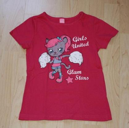 Mädchen Kurzarm T-Shirt Katze Kinder Glitzer Sommershirt Baumwolle Rundhals Kurzarmshirt pink Gr. 116